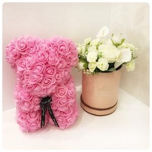 25 cm-es (4990 ft) rózsaszín virág maci, Esküvő, Dekoráció, Virágkötés, Meska