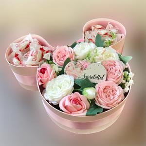 Minnies virágdoboz, Otthon & Lakás, Dekoráció, Virágkötés, Minnies doboz 35 cm szeretettel táblával és csokival. Egyedi és gyönyörű ajándék bármilyen alkalomra..., Meska