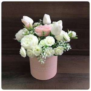 Rózsaszín dobozban selyemvirágok Rendelhető, Otthon & Lakás, Dekoráció, Virágkötés, Meska