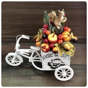 Őszi dekorációs bicikli mókussal, Otthon & Lakás, Dekoráció, Dísztárgy, Virágkötés, Meska