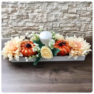 Őszi dekoráció antikolt tökkel és virágokkal, Otthon & Lakás, Dekoráció, Virágkötés, Meska