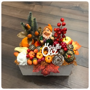 Törpe dekoráció őszi termésekkel - Meska.hu