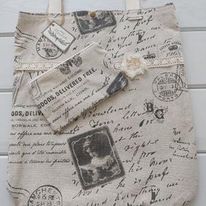 Lenvászon táska+neszesszer, Táska & Tok, Kézitáska & válltáska, Varrás, Foltberakás, Vintage mintás lenvászonból varrtam, natúr színű pamutcsipkével és sifon virággal díszítettem, belse..., Meska