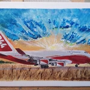 Global 747 Supertanker repülőgép, Művészet, Festmény, Akril, Festészet, Imádom a repülőket! A Boeing 747-esek pedig a szívem csücskei, az pedig, hogy mentési munkákra is be..., Meska