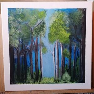 Erdei séta, Művészet, Festmény, Akril, Festészet, Utazó, vándor, ki az erdő fái között botladozol, nézz fel az égre, keresd a fényt, amely megmutatja ..., Meska