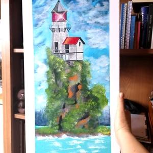Őrző, Művészet, Festmény, Akril, Festészet, Magányos világítótorony buja fákkal, bokrokkal körbevéve.\n\n\n60*30 cm-es vakkeretre feszített vásznon..., Meska