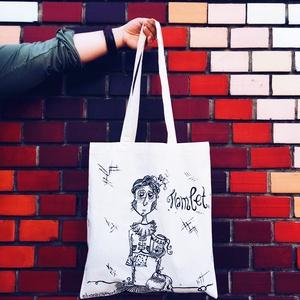Hamlet táska 1., Táska, Divat & Szépség, Táska, Szatyor, Válltáska, oldaltáska, NoWaste, Bevásárló zsákok, zacskók , Festett tárgyak, Saját grafika alapján, kézzel festett, 38x42 cm-es hosszú fülű vászontáska. Kézzel mosható!..., Meska