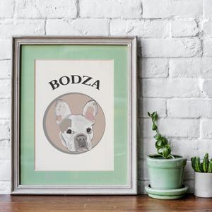 Egyedi kutyás kép, gyerekszoba falikép, bulldogos, dekoráció, nyomtatható, babaszoba dekoráció, kutyás, kutya fajták (emeszaros) - Meska.hu