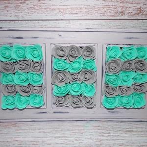 Szürke és türkiz habrózsás kép, rózsabox, dekoráció, asztali kép, Otthon & lakás, Lakberendezés, Képkeret, tükör, Festett tárgyak, Virágkötés, 34 * 19,5 * 7,5 cm nagyságú asztali kép lett szürkére festve, koptatva és a 3 kép helyére szürke és ..., Meska