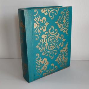 Titkok őre- könyv formájú doboz(azúr kék), Otthon & Lakás, Dekoráció, Díszdoboz, Festett tárgyak, Famegmunkálás, Puzzle doboz rejtekhellyel, féltve őrzött kincseknek.\nKönyv formájú, festett fa doboz. Matt lakkal k..., Meska