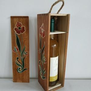 Bortartó- kézzel festett fa bortartó , Otthon & Lakás, Tárolás & Rendszerezés, Festett tárgyak, Kézzel festett fa bortartó doboz. Egyedi kórósi mintával. \n\nEgyéni kéréseket is megpróbálok megvalós..., Meska