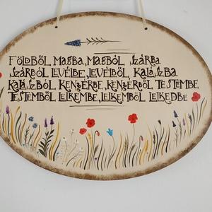 Mezei virágos ovális tábla imával, Otthon & Lakás, Dekoráció, Ajtódísz & Kopogtató, Festett tárgyak, Kézzel festett egyedi tábla. Mezei virágokkal és imával.\nMérete: 30 x 22 cm\n\nEgyedi kérés esetén ker..., Meska