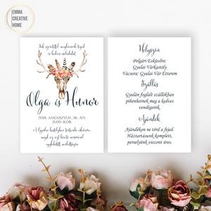 Esküvői meghívó / csodaszép agancsos meghívó / romantikus esküvő / stílusos meghívó / rusztikus meghívó (EmmaCreativeHome) - Meska.hu