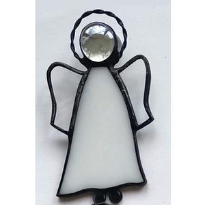 Tiffany-angyalka, Otthon & Lakás, Dekoráció, Függődísz, Üvegművészet, Tiffany-technikával készült angyalka. Mérete kb. 9x5 cm., Meska