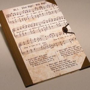 Kézzel fűzött hangjegyfüzet, gombos tüzet, vintage hangulatú, sötétbarna vászon gerinc és sarkok, barna gomb  (enciboltja) - Meska.hu