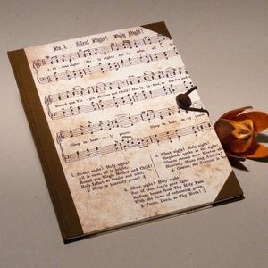 Hangjegyfüzet és cd doboz, szett zenészeknek. Vintage stílusú, kottás borító, barna vászon (enciboltja) - Meska.hu