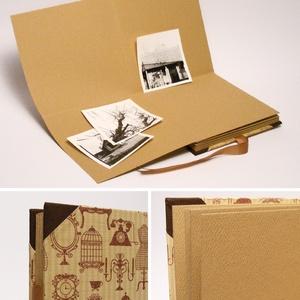 Közepes fotóalbum, négyzet alakú fényképalbum, vintage stílusú, bézs és barna emlékalbum, ajándék album nőknek - otthon & lakás - papír írószer - album & fotóalbum - Meska.hu