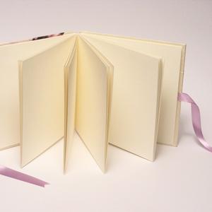 Romantikus fotóalbum, levendulás fényképalbum esküvőre, fehér gyűrt selyem és papír borító, szalaggal 1. - Meska.hu