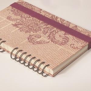 Spirálfüzet kemény borítóval, spirálozott jegyzetfüzet, notesz, gumival, vintage motívum, perszonalizálható - Meska.hu