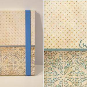 Spirálfüzet kemény borítóval, spirálozott jegyzetfüzet, notesz, gumival, damasztmintás, pöttyös, romantikus vintage - Meska.hu