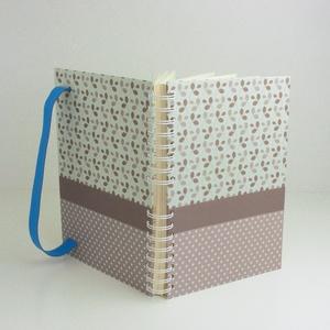 Pöttyös, leveles spirálfüzet, szürke és kék kemény borítóval, spirálozott jegyzetfüzet, notesz kék gumival - Meska.hu