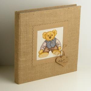 Macis fotóalbum babáknak, kisgyerekeknek, zsákvászon album kislányoknak vagy kisfiúknak, keresztszemes hímzett mackóval - Meska.hu