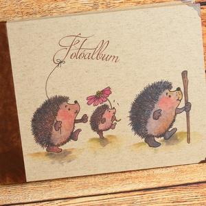 Nagyméretű album, fotóalbum barna bőr gerinccel, rusztikus, nyomtatott natúr vászonnal, egyedi felirattal, névvel is - Meska.hu