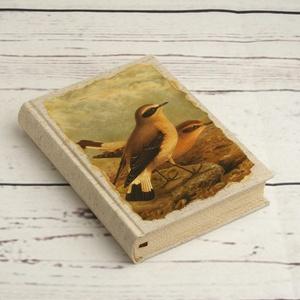 Madaras napló, kisméretű kézzel fűzött üres könyv, jegyzetelő. Natúr vászon, antikolt lapok. Régies, vintage stílus, Otthon & lakás, Naptár, képeslap, album, Jegyzetfüzet, napló, Papírművészet, Könyvkötés, Madaras napló, kisméretű kézzel fűzött üres könyv, jegyzetelő. Natúr vászon borító, sima, antikolt l..., Meska