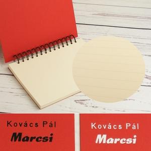 Piros spirálfüzet fekete spirállal, A5-ös spirálozott füzet. Személyre szabható, névvel, keresztnévvel vagy monogrammal - Meska.hu