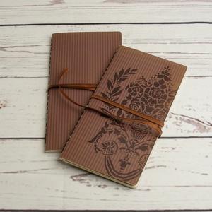 2 db-os füzetcsomag, régimódi, vintage füzetek csíkos-virágos borítóval, keskeny, hosszúkás forma, szaténszalag átkötő - Meska.hu