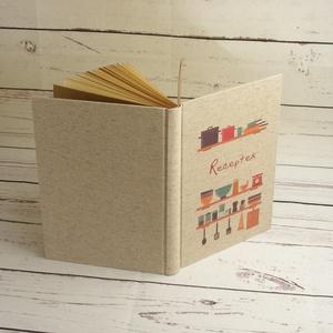 Receptgyűjtő könyv, retro stílusú recepteskönyv a saját receptekhez, konyhai eszközök vászon borítón - Meska.hu