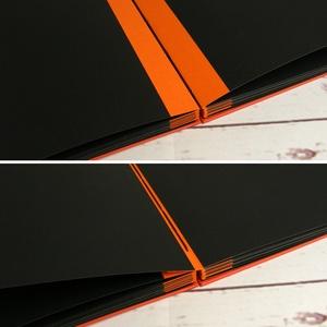 Fotóalbum színes mandala motívummal, kopt fűzéssel. Narancs és fekete lapos album, fényképalbum, scrapbook, emlékalbum - Meska.hu