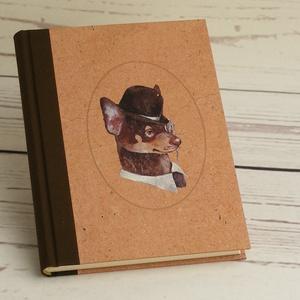 A5 napló kutyabarátoknak, notesz vászon gerinccel, kézzel fűzött kutyás emlékkönyv, jegyzetelő gentleman kutyával, Otthon & lakás, Férfiaknak, Naptár, képeslap, album, Jegyzetfüzet, napló, Naptár, jegyzet, tok, Könyvkötés, Papírművészet, A5 napló kutyabarátoknak, simalapos notesz vászon gerinccel, kézzel fűzött kutyás emlékkönyv, jegyz..., Meska