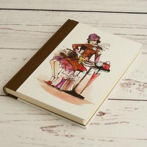 Kávézós napló lányoknak, simalapos A5 notesz vászon gerinccel, kézzel fűzött csajos, nőcis, kávéházas jegyzetelő - Meska.hu
