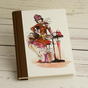 Kávézós napló lányoknak, simalapos A5 notesz vászon gerinccel, kézzel fűzött csajos, nőcis, kávéházas jegyzetelő, Papír írószer, Otthon & Lakás, Jegyzetfüzet & Napló, Könyvkötés, Papírművészet, Kávézós napló lányoknak, simalapos A5 notesz vászon gerinccel, kézzel fűzött csajos, nőcis, kávéháza..., Meska