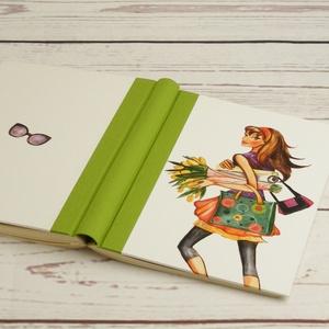 Trendi lányos napló, simalapos A5 notesz vászon gerinccel, kézzel fűzött nőcis, shoppingolós jegyzetelő, lány virágokkal, Otthon & lakás, Naptár, képeslap, album, Jegyzetfüzet, napló, Könyvkötés, Papírművészet, Tendi lányos napló, simalapos A5 notesz vászon gerinccel, kézzel fűzött nőcis, shoppingolós jegyzete..., Meska