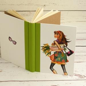 Trendi lányos napló, simalapos A5 notesz vászon gerinccel, kézzel fűzött nőcis, shoppingolós jegyzetelő, lány virágokkal - Meska.hu