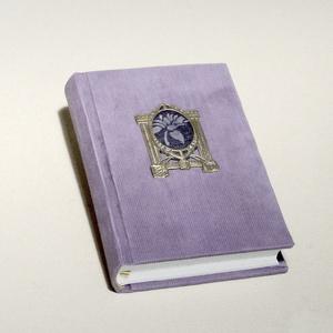 Kordbársony napló, halványlila emlékkönyv, vintage titkosnapló. Régi, eredeti, szecessziós fém képkerettel, üres lapok (enciboltja) - Meska.hu
