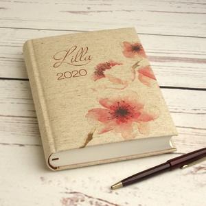 Napi beosztású határidőnapló 2020-ra, névvel. Névreszóló naptár, napló párnázott, cseresznyevirágos natúr vászon borító (enciboltja) - Meska.hu