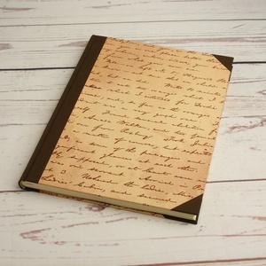 Vonalas napló A4-es lapokkal, régi kézírást utánzó borítóval, gerinc és sarkok sötétbarna vászonból, kézzel fűzött, Jegyzetfüzet & Napló, Papír írószer, Otthon & Lakás, Könyvkötés, Papírművészet, Vonalas napló A4-es lapokkal, régi kézírást utánzó borítóval, gerinc és sarkok sötétbarna vászonból,..., Meska
