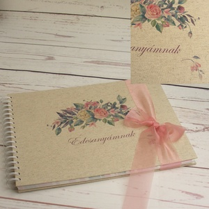 Egyedi felirattal is kérhető spirálozott fotóalbum virágos borítóval, ajándék anyák napjára, esküvőre, emlék nagymamának - Meska.hu