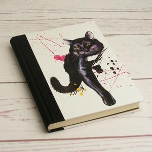 Cicás napló üres lapokkal, A5 notesz vászon gerinccel, kézzel fűzött macskás emlékkönyv, jegyzetelő, hátul pöttyös - Meska.hu