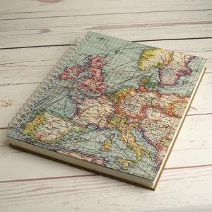 Nagyméretű fotóalbum, utazási album, fényképalbum, emlék utazóknak. Borítón régi Európa-térkép, hátul vászon, spirálos - Meska.hu
