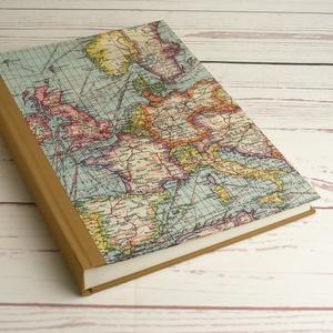 Nagyméretű fotóalbum, utazási album, fényképalbum, emlék utazóknak. Borítón régi Európa-térkép és vászon, kézzel fűzött, Otthon & Lakás, Papír írószer, Album & Fotóalbum, Könyvkötés, Papírművészet, Nagyméretű fotóalbum, utazási album, fényképalbum, emlék utazóknak. Borítón régi Európa-térkép, geri..., Meska