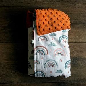 XXL Minky Babatakaró 80×120 cm - Szivárvány (narancssárga), Játék & Gyerek, 3 éves kor alattiaknak, Játszószőnyeg, Hímzés, Varrás, Puha takaró, ami a kisbaba állandó társa lehet a születésétől kezdve. Az extra nagy méretének köszön..., Meska