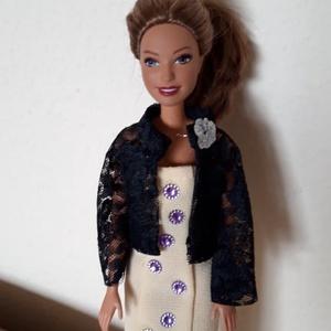 Gyönyörű, egyedi babaruha, Játék & Gyerek, Baba & babaház, Babaruha, babakellék, Csinos nyári ruhák Barbie típusú babáknak, fekete csipke kabátkával. Igényesen megvarrt, kézzel dísz..., Meska