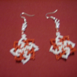 fülbevaló, Ékszer, Fülbevaló, Piros-fehér és lila- fehér kása gyöngyből készült fülbevalók Az ár egy párra vonatkozik. Méretek hos..., Meska