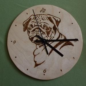 Falióra, Egyéb, Otthon & lakás, Lakberendezés, Pirográf  technikával mintázott fali óra. Átmérője :22 cm.Más méretben és mintával is elkészítem ,ke..., Meska