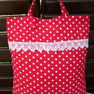Szatyor, piros, pöttyös,  6 cm széles gyönyörű csipkéval (ennavel) - Meska.hu