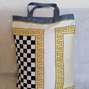 Bevásárló szatyor ,  elegáns, szaténfényű könnyű vászonból ! Sárga, fekete, szürke - táska & tok - bevásárlás & shopper táska - shopper, textiltáska, szatyor - Meska.hu
